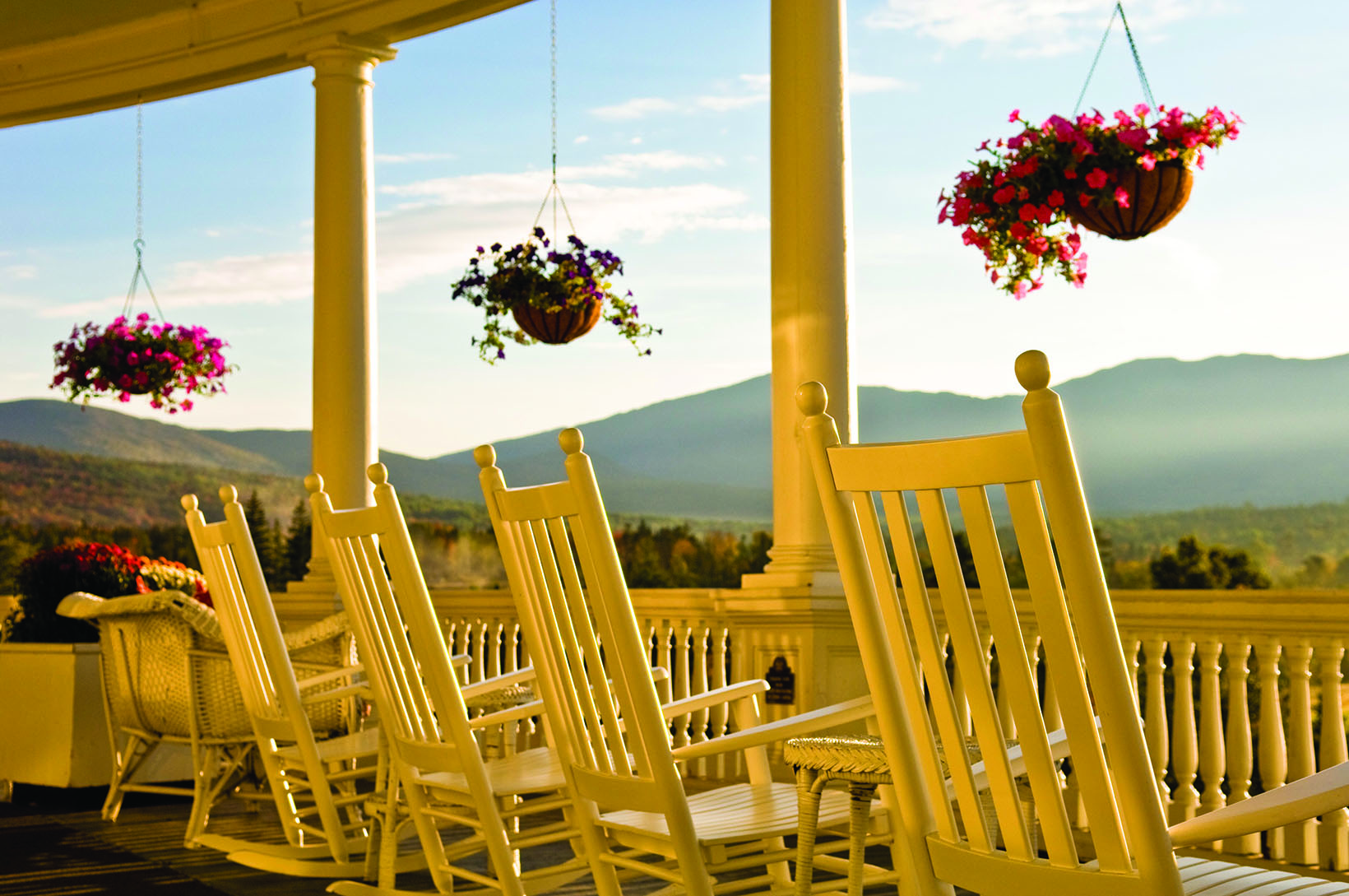 The Omni Mount Washington Resort's veranda.